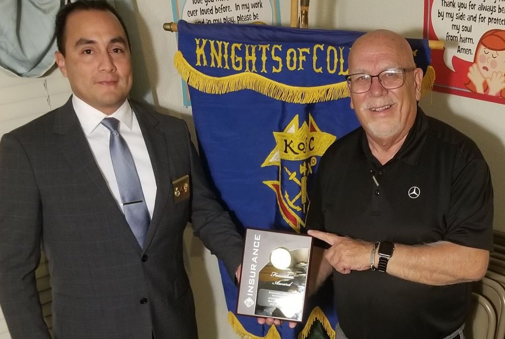Congratulations to our Worthy Past Grand Knight, John Milsap who is the recipient of the Founders Award.  He was presented with this award by our Agent Andres Contreras last week at our council meeting.